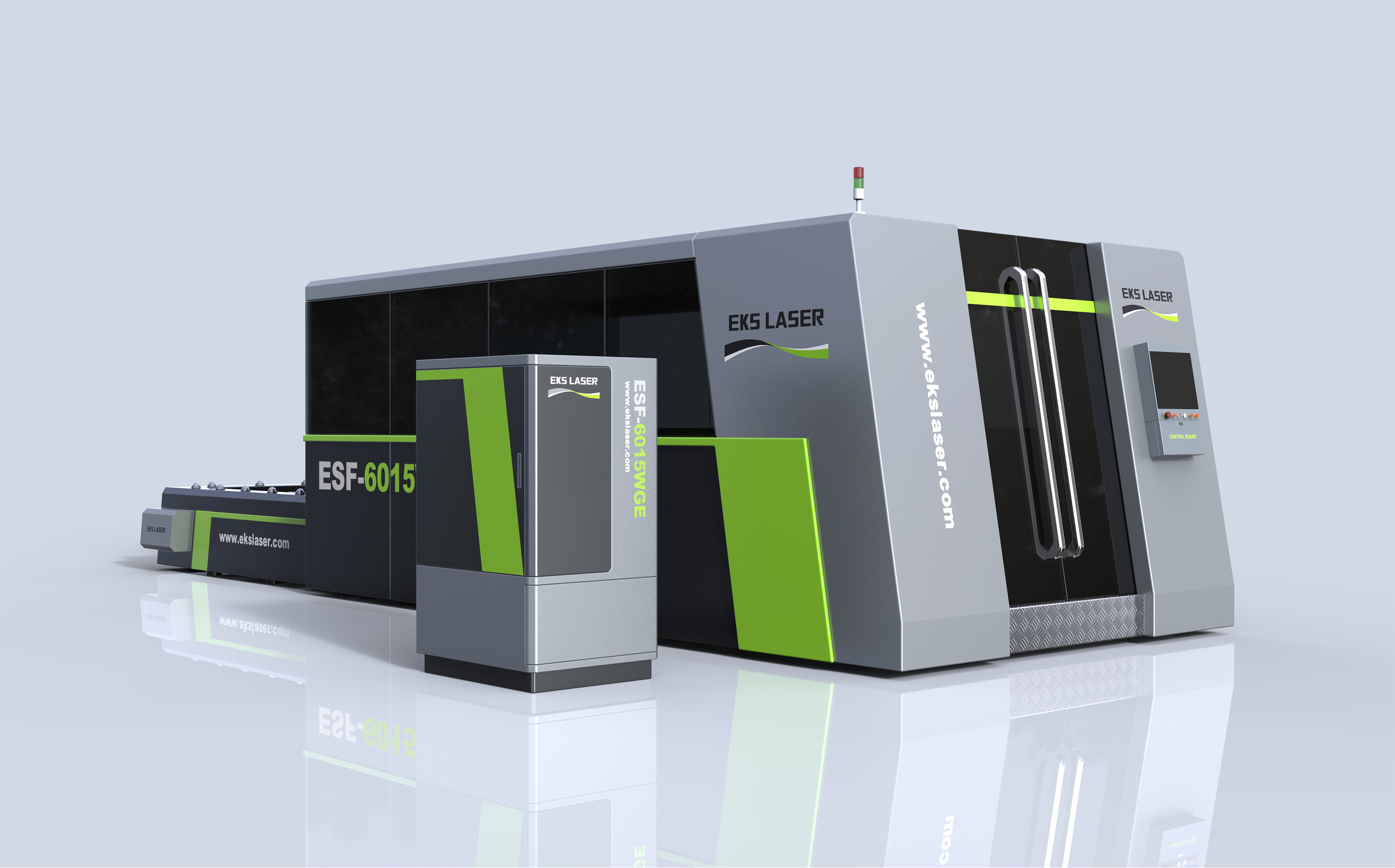 Stable and efficient surrounding double-platform laser cutting machine